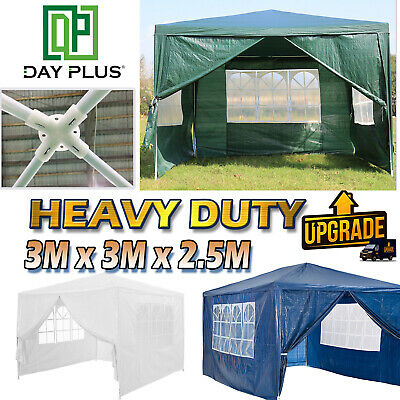 Heavy Duty Stronger Gazebo WATERPROOF  Tent with 4 Sides 3x3m GREEN BLUE WHITE