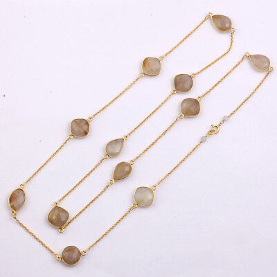 Golden Rutile Gemstone Beaded Chain Necklace 925 Sterling Silver Jewelry G101