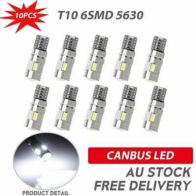 10X T10 6SMD White LED 5630 W5W 12V Car Front Wedge Lamp Canbus Park Side Light