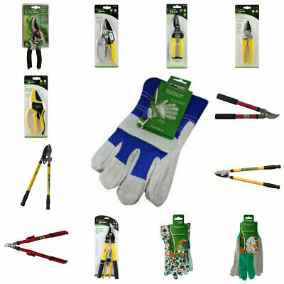 Garden Soft Grip Pruning Shears & Gardening Gloves Roses Buses Secateurs Cutter