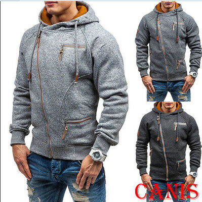 Mens Winter Slim Fit Hoodie Hooded Zip Sweatshirt Coat Jacket Outwear Sweater AU