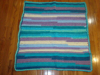 "HAND CROCHET MULTI COLOR BABY BLANKET 37"" x 35"""