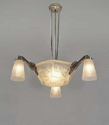 MULLER FRERES  :  FRENCH ART DECO CHANDELIER 1930 ... peacock bronze lustre paon