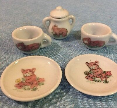 Vintage Miniature Teddy Bear Cubs 6-Pc Porcelain Teapot Tea Set Assorted Pieces