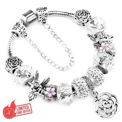 """925 Fashion Authentic Bracelet With """"Love Story"""" European Charms Silver"""