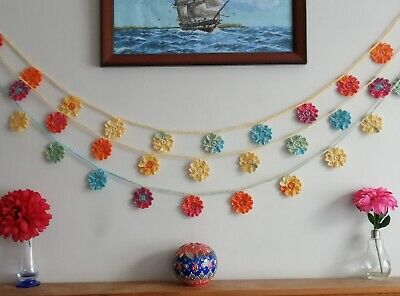 Flower bunting rainbow colour sparkle garland wall decor nursery boho party room