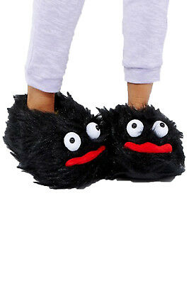 Loungeable Adults Black Fluffy Monster 3D Slippers Womens Mens Novelty Footwear
