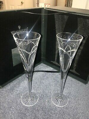 WATERFORD CRYSTAL Love and Romance, Wishes - PAIR OF CHAMPAGNE TOASTING FLUTES