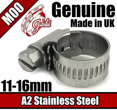 Genuine Jubilee A2 Stainless Steel Clips Hose Clamp Worm Drive 11mm - 16mm M00