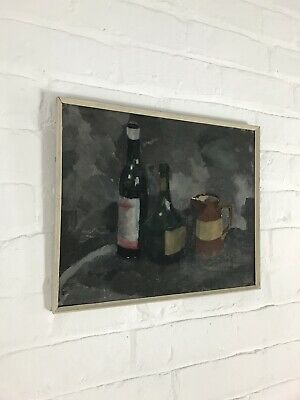 Still Life Oil On Board Painting Mid Century Vintage Signed Antique