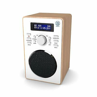 Digital FM Radio Alarm Clock Auto Scan Time Set Classic Wooden Style DAB Wood