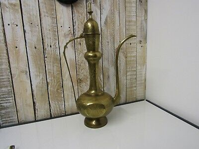 Vintage brass large 23ins high pitcher tall  indian brass tea coffee pot ornate
