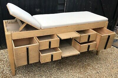 Good Quality Early 20th Century Doctors Examination / Treatment Bed With Storage