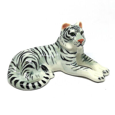 Ceramic Dollhouse Miniature White Bengal Tiger Figurines Collectible Wild Safari