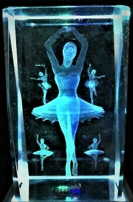 3D BALLERINA GIRLS JAZZ BALLET DANCE CRYSTAL (2) Laser+4LIGHT BASE NEW GIFT BOX