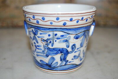 Wonderful Miniature Hand Painted Blue Jardiniere Cup Done In A Primitive Style