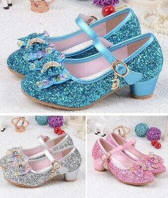 Kids Girls Cone High Heels Shoes Fashion For Party Children Sandals Ankle Strap
