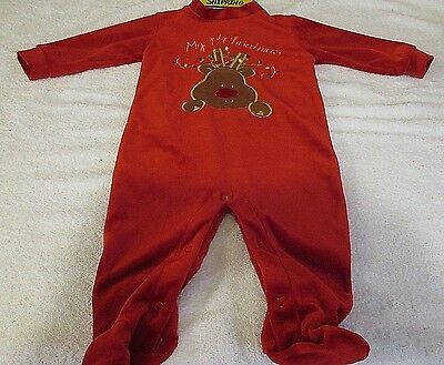 9eb28c03c Kidgets Unisex Red Velour My First Christmas Outfit Size 0-6 Months EUC  Reindeer