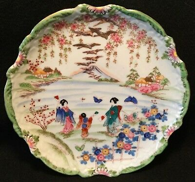 19th c. Kutani Hand Painted Japanese Eggshell Porcelain Serving Plate - 10""
