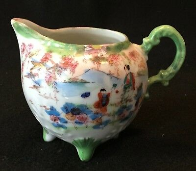 19th c. Kutani Hand Painted Japanese Eggshell Porcelain Footed Creamer - NICE!