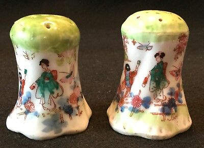 19th c. Kutani Hand Painted Japanese Eggshell Porcelain Salt & Pepper Shakers
