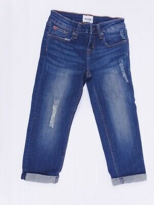 Hudson Girls Blue Distressed Cropped Roll Cuff Boyfriend Jeans Size 7