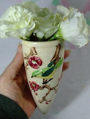 Vtg Bird Cherry Branch Wall Pocket Cone 1920s 30s Japan Porcelain Good 6""