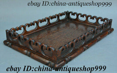 "14"" Old Chinese Dynasty Restaurant Hua Li Wood Tray Plate Dish Hollowware Statue"