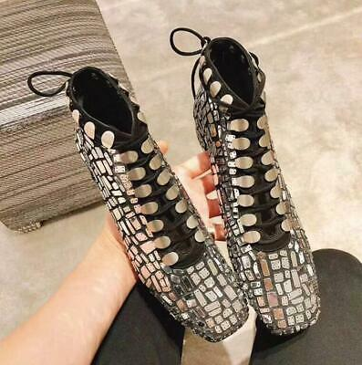 New Style Women Sequined Shiny Glossy Ankle Boots British Party Club Shoes Haihk