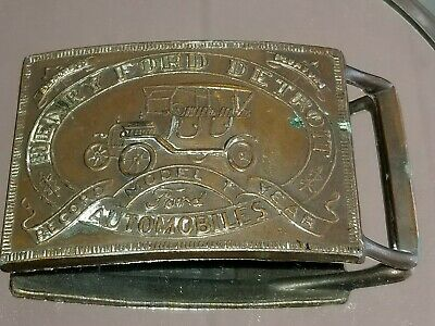 Vintage Henry Ford Detroit Model T Brass Belt Buckle Automobile Record Year