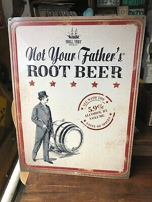 """NOT YOUR FATHER'S ROOT BEER SMALL TOWN BREWERY 24"""" EMBOSSED METAL SIGN NEW Rare"""