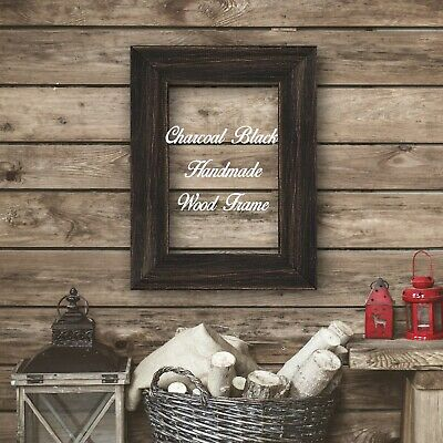 Charcoal Black Wood Photo Poster Canvas Art Picture Frame Rustic Distressed Barn