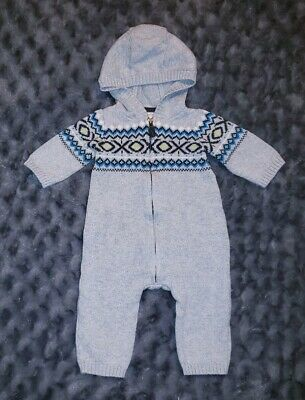 7ebefe9313df VGUC Carters Baby Boy Clothes 3 Months One Piece Knit Sweater Hooded Romper