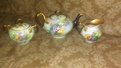 "Antique French Limoges Hand Painted Tea Set "" So Beautiful """