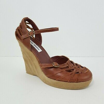 f9291326aba Steve Madden Woven Brown Leather Ankle Strap Wedge Sandals Size 8B Closed  Toe