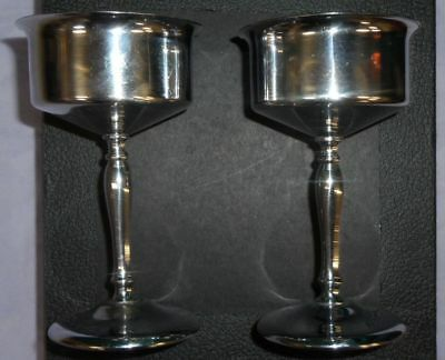 Vtg Set Of Silver Plated Metal Chalice Goblets Stemware Church Cups Wine Glasses