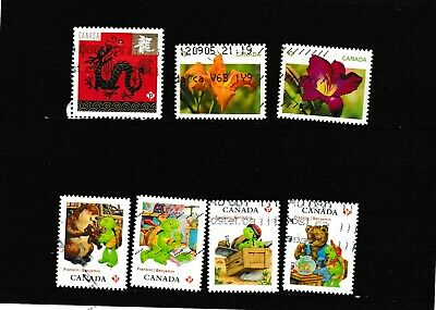#1767=Canada  used mix of 7 different 2012 commemorative stamps