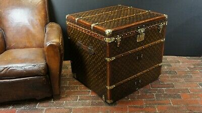 Antique Louis Vuitton 1920s Monogram Steamer Trunk Cube