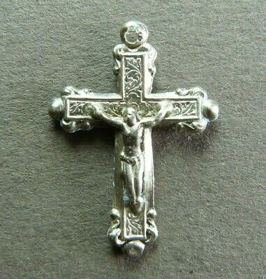 French Antique Religious Crucifix Sterling Silver Jesus Christ Cross Hallmarked.