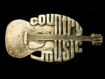 Rb05125 Vintage 1980 **Country Music** Commemorative Solid Brass Belt Buckle