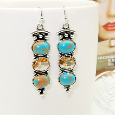 Vintage Silver Plated Turquoise Three-Stone Drop Earrings Women Dangle EarringG