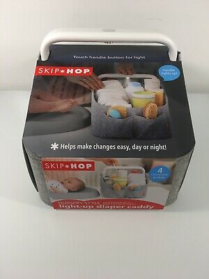 Skip Hop Nursery Style Light-Up Diaper Caddy W/ Moveable Divider Gray