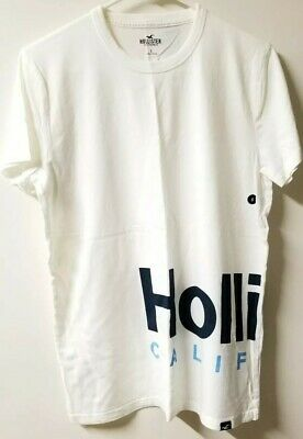 aad6ce10a Hollister Men's Graphic Tee T-shirt White Blue Big Logo Front & Back ...
