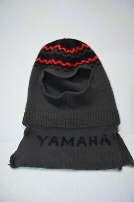 14bcd0204 VINTAGE YAMAHA WINTER Ski Beanie Hat Motorcycle Puff Ball 70s 80's ...