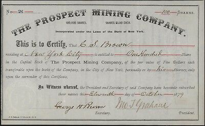 THE PROSPECT MINING COMPANY Stock Certificate 100 Shares 1879 Conn. Iron Mines