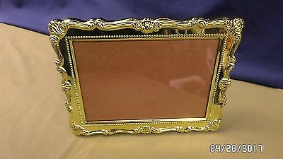 2075M BEAUTIFUL 5x7 Photo Frame Gold Metal Ornate Rococo Style Easel & Wall VGC