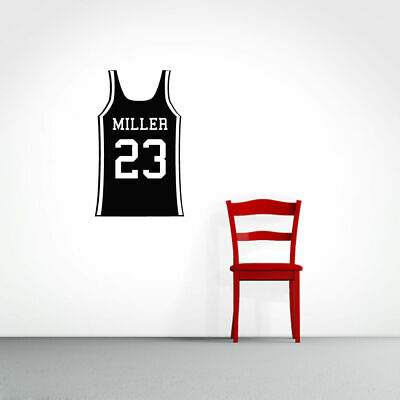 CUSTOM BASKETBALL JERSEY - Personalized Sports Man Cave Kids Room Wall  Decals