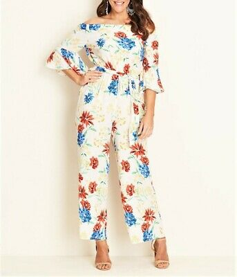 Crossroads Flora Bell Sleeve Off The Shoulders Jumpsuit Size 18 Drawstring Waist