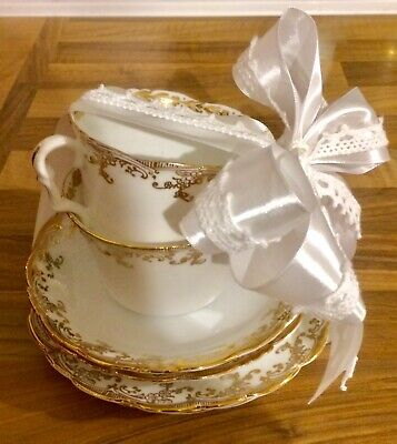 Vintage English Bone China Tea Set Afternoon Tea Gift For 2 Wrapped & Bow Tagged