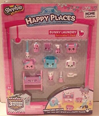 Shopkins Happy Places Bunny Laundry Decorator/'s pack new and sealed.
